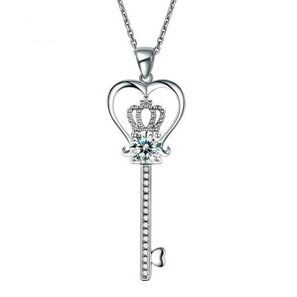 1.25 Carat Round Cut Heart Crown Key 925 Silver Necklace