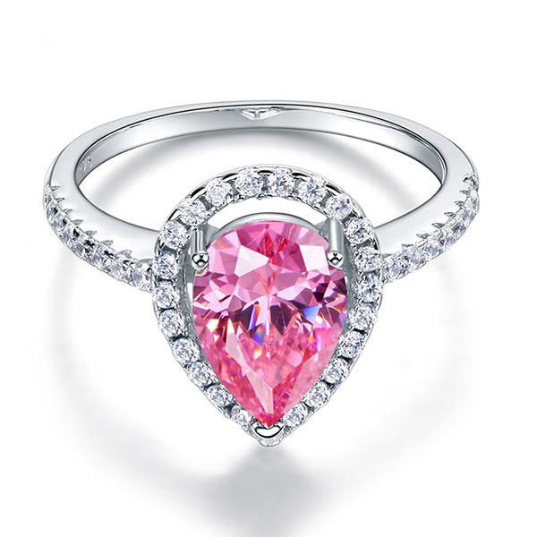 2 Carat Pink Pear Cut Ring