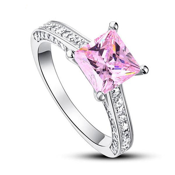 1.5 Carat Pink Princess Cut Ring