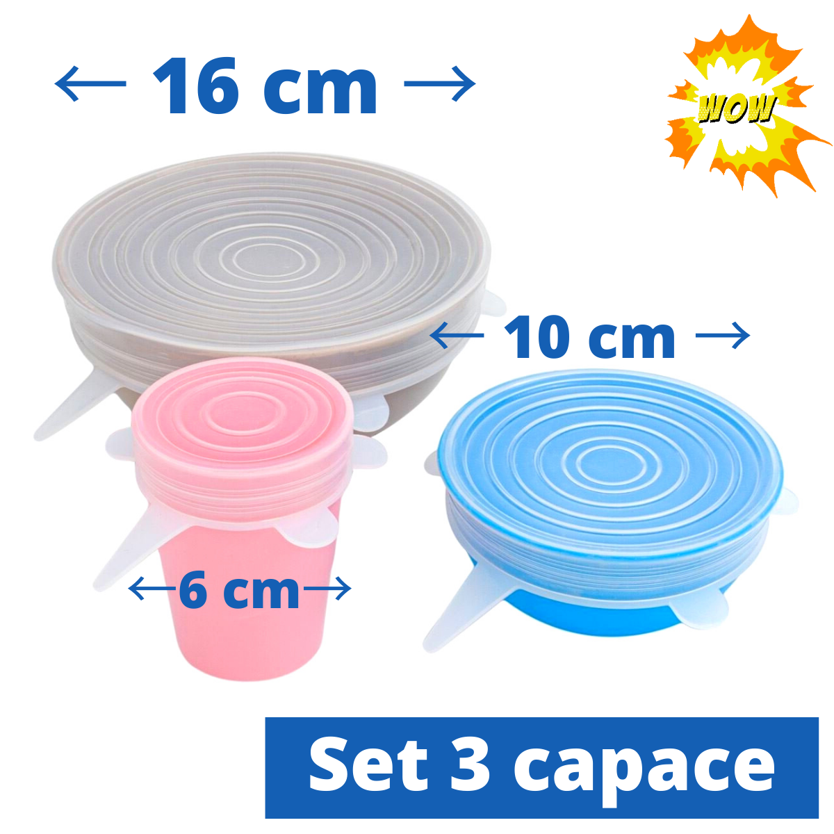 Set de 3 capace din silicon