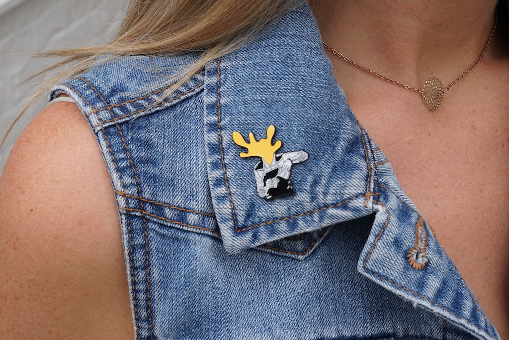 Milk Head Pin Badge - Turmeric Yellow