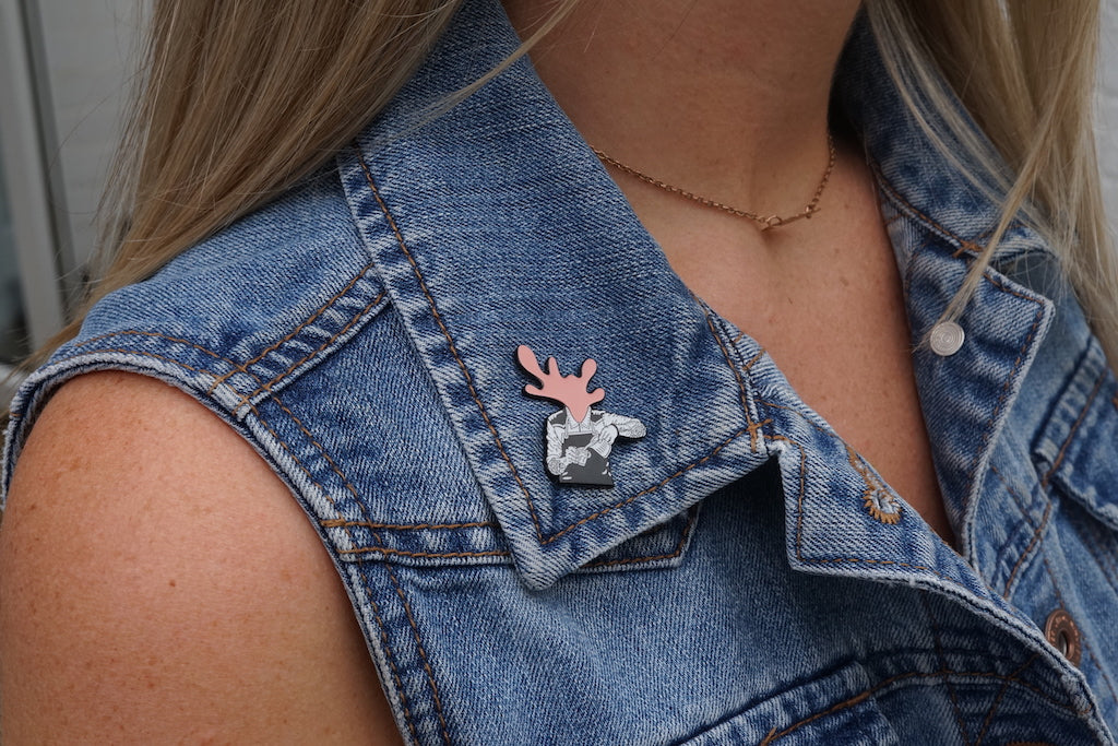 Milk Head Pin Badge - Chai Orange / Pink