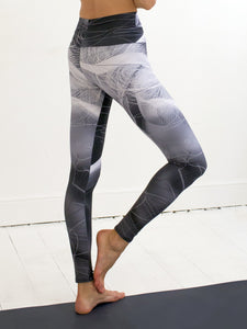 Meetings | Efesto Designs yoga leggings | fine white and gray lines on grayscale background, inspired by colliding fluid pathlines