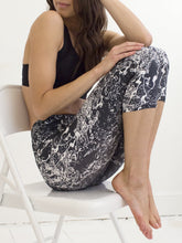Nami | Efesto Designs yoga capris | shapes from Japanese garden pond ripples, white on dark gray