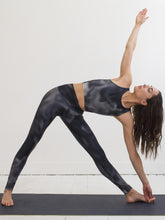 Clouds | Efesto Designs yoga leggings and top | grayscale based on natural cloud motions | triangle revolved yoga position