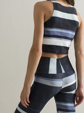 Ribbons - horizontal | Efesto Designs (Efestosports) crop top | dark blue, cyan, grey |