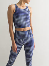 Pinstripe | Efesto Designs (Efestosports) yoga leggings and crop top | thin cyan vertical stripes in dark wavy blue | inspired by natural fluid processes
