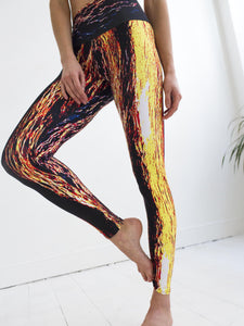 Naxos | Efesto Designs yoga leggings | inspiration from sea waves, yellow/orange/blue/black