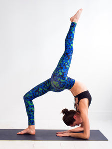 "Archipelagos | Efesto Designs yoga leggings | fluids mixing inspiration, blue/green/black non repeating patterns ""militaire"" style 