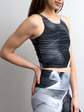 Meetings | Efesto Designs yoga leggings and crop top | fine white and gray lines on grayscale background, inspired by colliding fluid pathlines