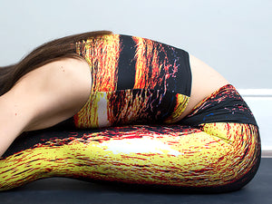 Naxos | Efesto Designs yoga leggings and crop top | inspiration from sea waves, yellow/orange/blue/black