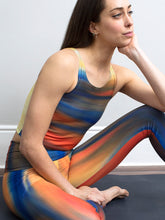 Jet | Efesto Designs yoga leggings | Jet engine flame inspired colours and shapes, blue/orange/red