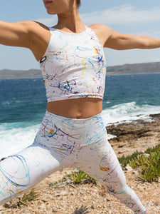 Vortices white | Efesto Designs Efestosportsyoga leggings and crop tops | curls and lines of varying colours on soft white background, inspired from fluid flow
