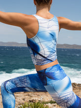 Efesto Designs Efestosports crop top | blue lines on shades of blue background from fluid flow
