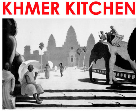KHMER KITCHEN logo with black and white graphic of Angkor Wat and elephant in the foreground