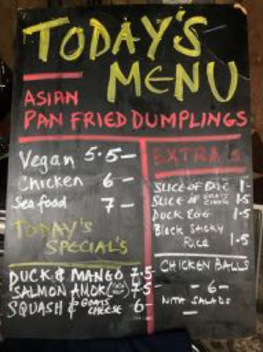 Khmer Kitchen Menu Blackboard displaying Asian Delights!