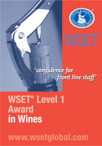 A WSET wine awards poster with a cork screw and cork close-up on a red background