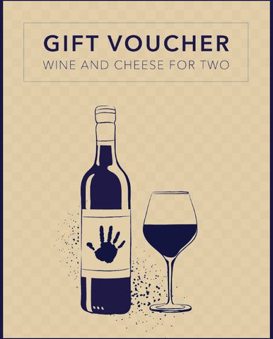 A graphic gift voucher poster with a bottle of red wine and a filled wine glass on a cream background