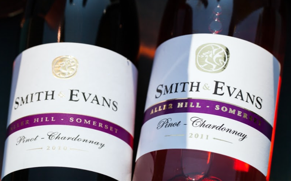 Smith and Evans wine bottles and labels close up photo
