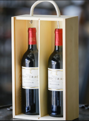 2 bottles of red wine in a gift box