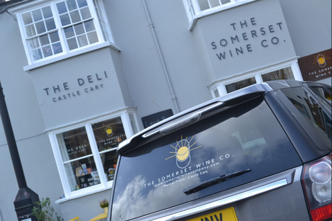 The Somerset Wines car parked outside The Deli, Castle Cary - ready for action