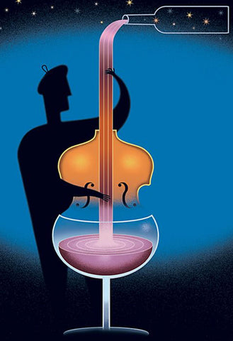 Art print - silhouette of a man with a beret playing a double bass which morphs into a glass of wine. The bottle pouring overhead becomes the strings. The image is serene and surreal with beautiful blues and twinkling stars.