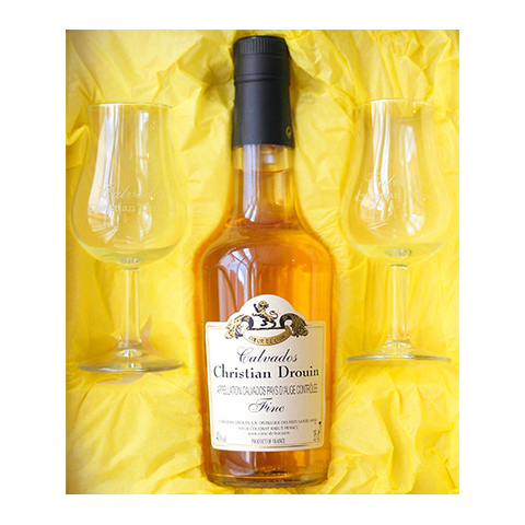 Calvados Fine 350ml & 2 x bespoke glasses