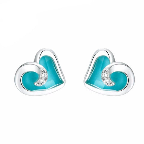 Turquoise Hearts Stud Earrings