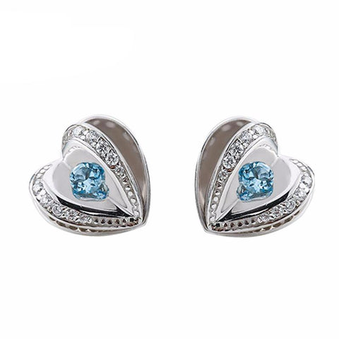 Topaz Hearts Stud Earrings