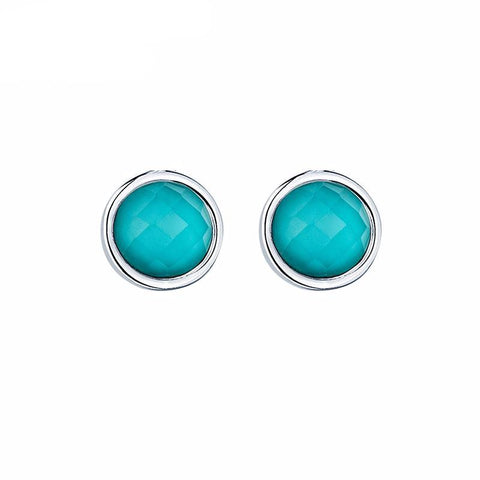 Silver Blue Gemstone Stud Earrings