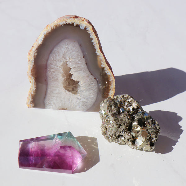 The Amplification Set - Fluorite, Pyrite and Geode Crystal Set