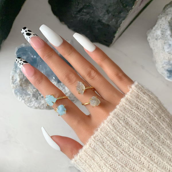 Introducing The 'Inner Peace' Aquamarine & Labradorite Ring Duo