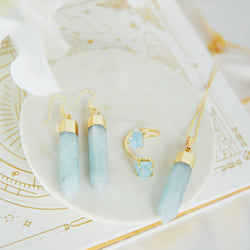 Aquamarine Jewelry Set In Gold Plated 925 Sterling Silver