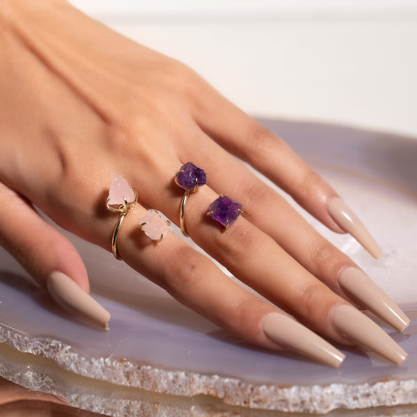 Eternal Love Rose Quartz and Amethyst Double The Attention Ring In Gold Duo