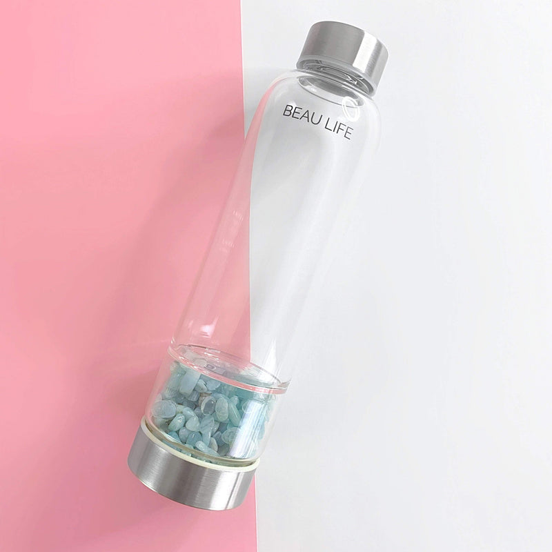 Aquamarine Crystal Water Bottle - Beau Life
