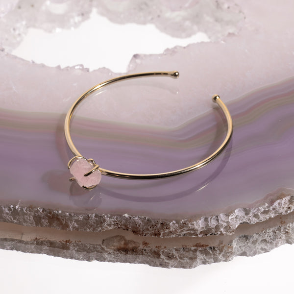 Rose Quartz Crystal Bangle In Gold Plated 925 Silver - Beau Life