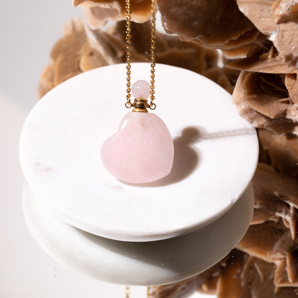 Rose Quartz Heart Necklace with Oil Chamber in Gold Plated 925 Sterling Silver