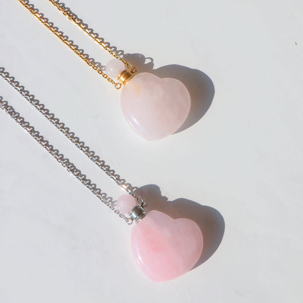 Rose Quartz Heart Necklace with Oil Chamber in 925 Sterling Silver - Beau Life