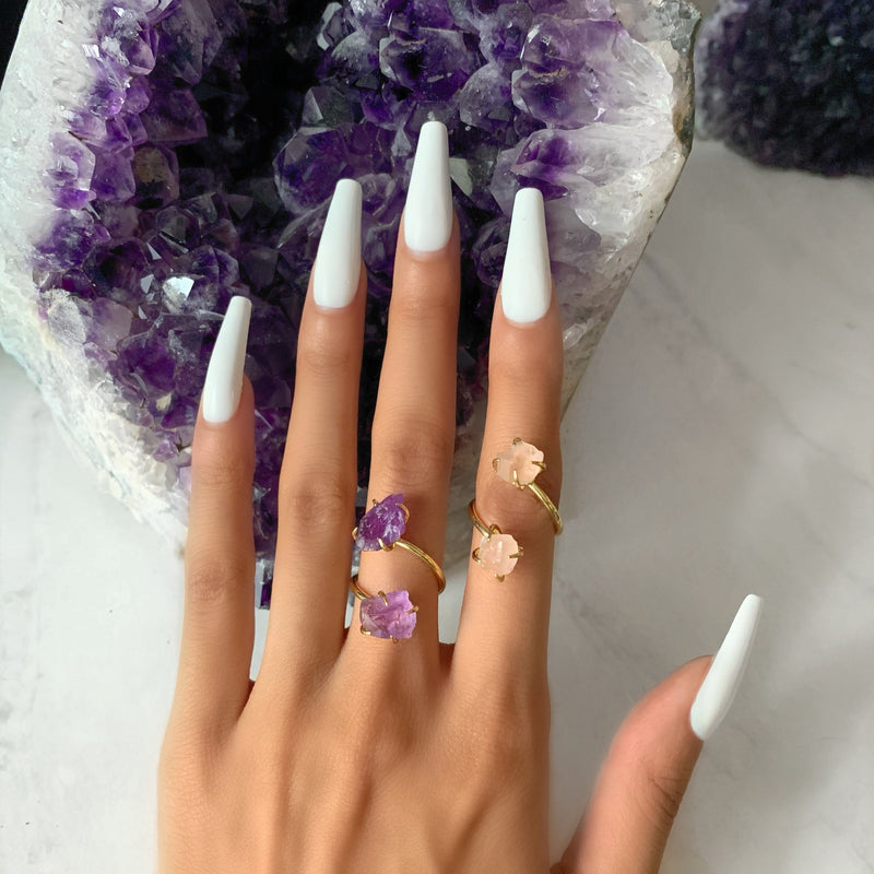 Eternal Love Rose Quartz and Amethyst Double The Attention Ring In Gold Duo - Beau Life