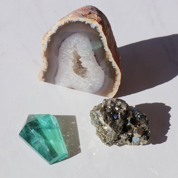 Amplification Set - Fluorite, Pyrite and Geode Crystal Set - Beau Life