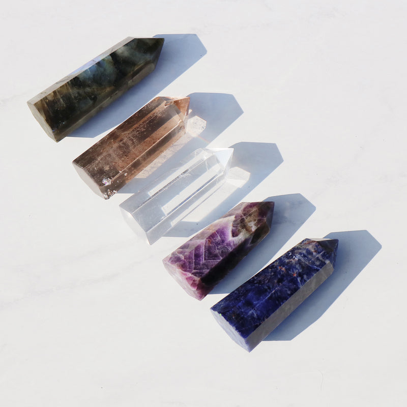 Pentacles 5 Crystal Point Set