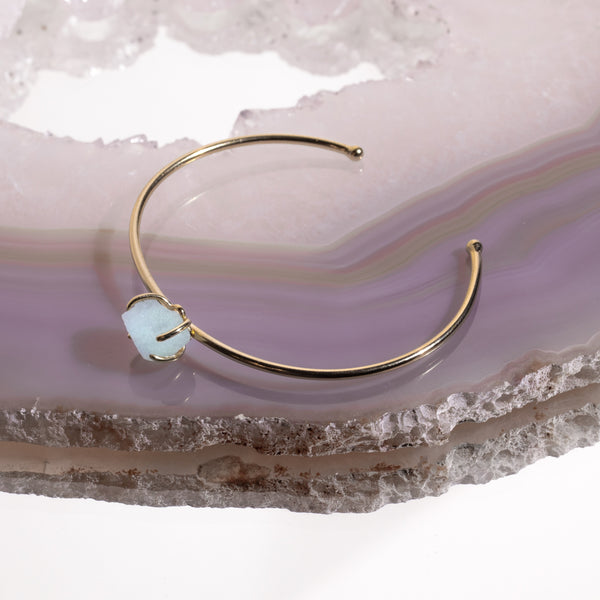 Aquamarine Crystal Bangle In Gold Plated 925 Silver - Beau Life