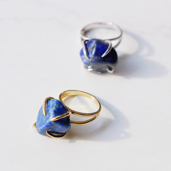 Center Of Attention Single Stone Lapis Lazuli Ring in Gold - Beau Life