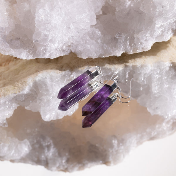 Amethyst Point Earrings in 925 Sterling Silver - Beau Life