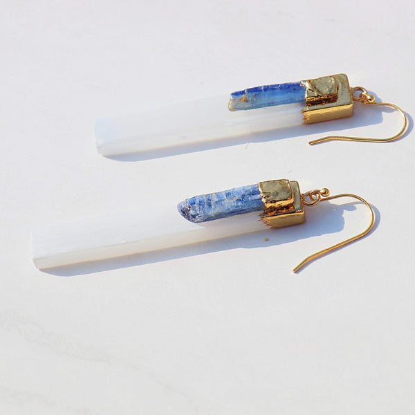 Warrior Woman Gold Selenite and Kyanite Earrings in 925 Sterling Silver - Beau Life