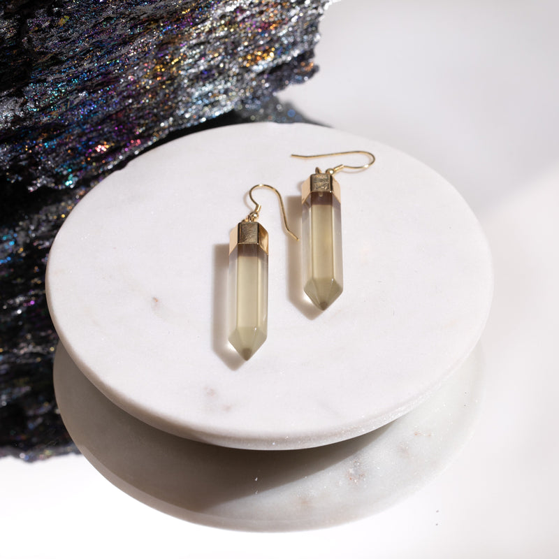Citrine Point Earrings in Gold Plated 925 Sterling Silver - Beau Life