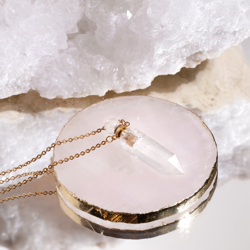 High Priestess Clear Quartz Point Necklace with Oil Chamber Gold