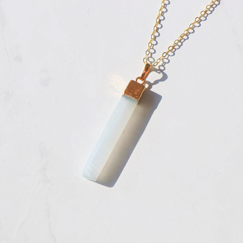 Pure Energy Gold Selenite Necklace in 925 Sterling Silver - Beau Life