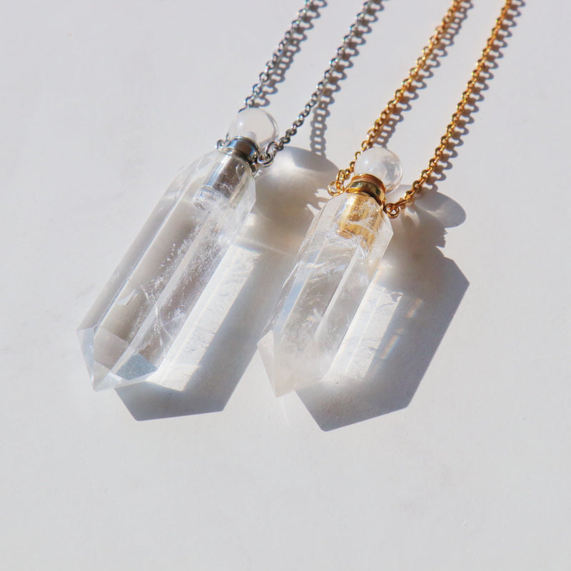 High Priestess Clear Quartz Point Necklace with Oil Chamber in 925 Sterling Silver - Beau Life