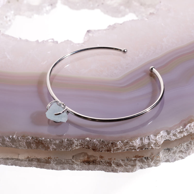 Aquamarine Crystal Bangle In 925 Silver - Beau Life